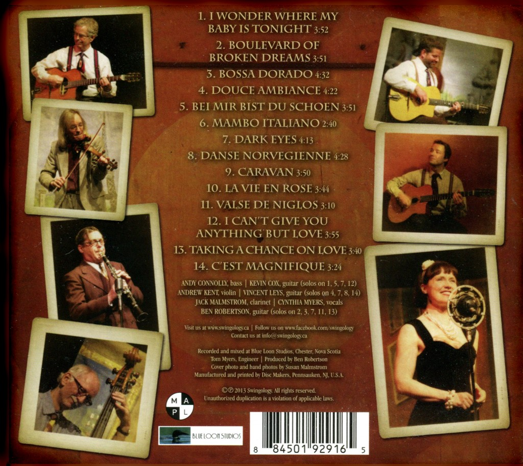 CD back design for Gypsy Jazz band